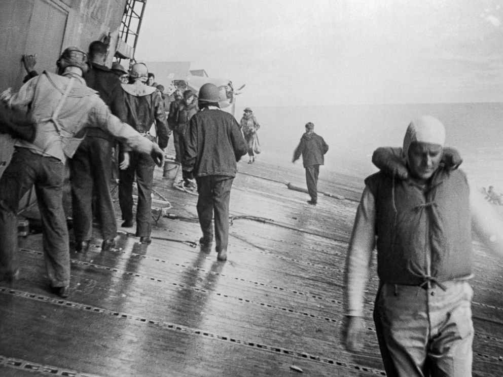 PHOTO: The deck of the U.S.S. Yorktown aircraft carrier listing badly after she had been hit by bombs and torpedoes in the Battle of Midway.