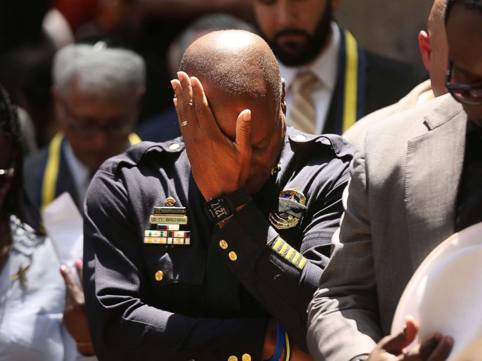 PHOTO: Dallas Police Chief David Brown pauses at a prayer vigil following the deaths of five police officers last night during a Black Live Matter march, July 8, 2016, in Dallas, Texas.