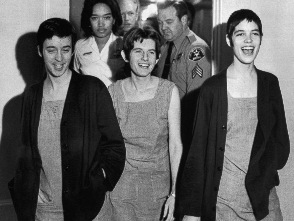 PHOTO: From left, Susan Denise Atkins, Patricia Krenwinkel and Leslie Van Houten laugh after receiving the death sentence for their part in the Tate-LaBianca killing at the order of Charles Manson, March 29, 1971.