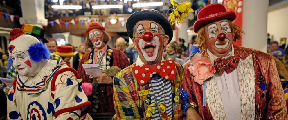 PHOTO: Clowns attend the 70th anniversary Clown Church Service at All Saints Church in Haggerston, Feb. 7, 2016, in London.