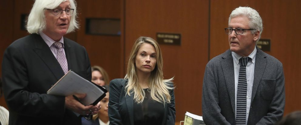 PHOTO: Attorney Thomas Mesereau, model Dani Mathers and attorney Dana M. Cole during court proceedings, May 24, 2017, in Los Angeles.