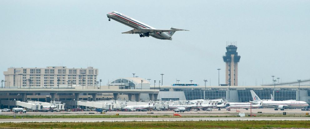 PHOTO: A plane takes off at Dallas/Fort Worth International Airport.