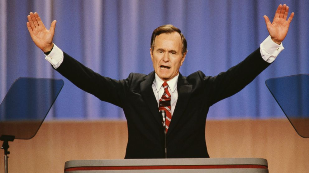 Vice President George Bush raises his arms during a speech at the 1988 Republican National Convention in New Orleans.