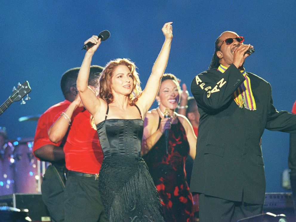 Gloria Estefan And Stevie Wonder perform at half-time during the Super Bowl, Jan. 31, 1999, in Miami.