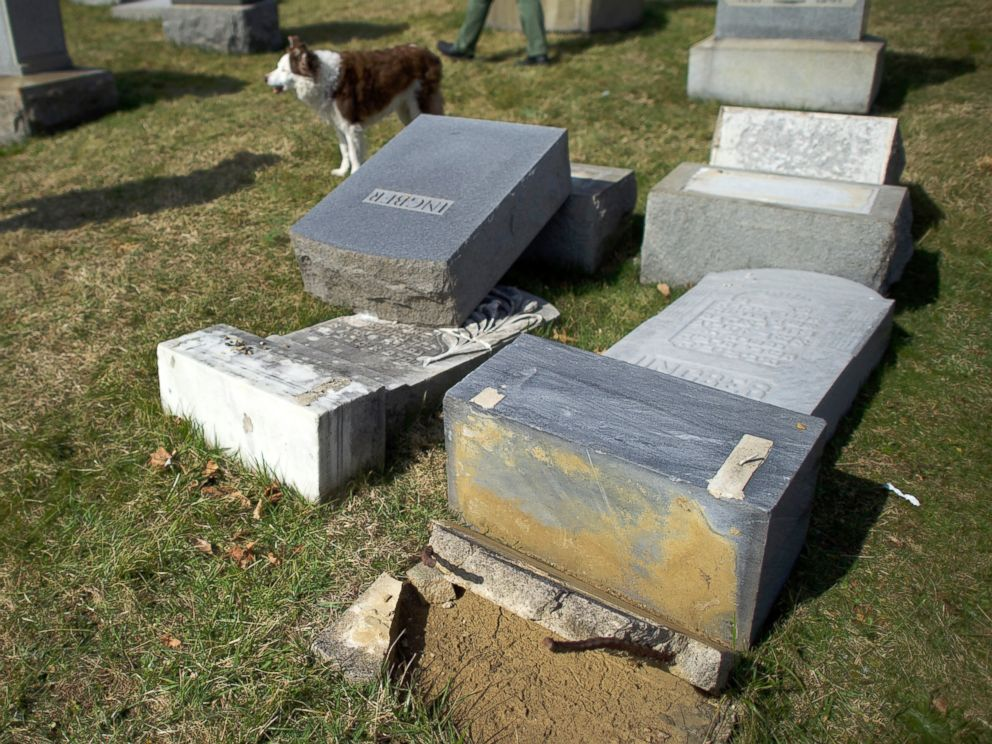PHOTO: A dog walks past vandalized Jewish tombstones at Mount Carmel Cemetery, Feb. 27, 2017, in Philadelphia, Pennsylvania.