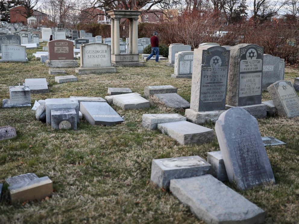 PHOTO: Vandalized tombstones are seen at the Jewish Mount Carmel Cemetery, Feb. 26, 2017, in Philadelphia.