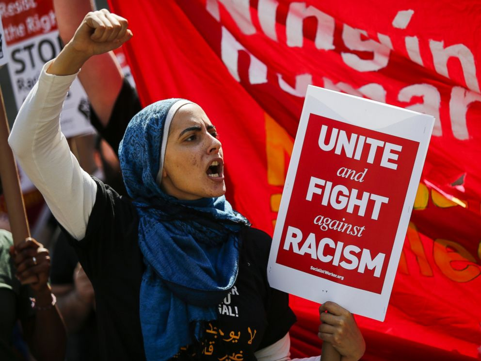 PHOTO: A woman shouts slogans as people march in support of Muslim community as activists take part in the March Against Sharia at Foley Square on June 10, 2017 in New York City.