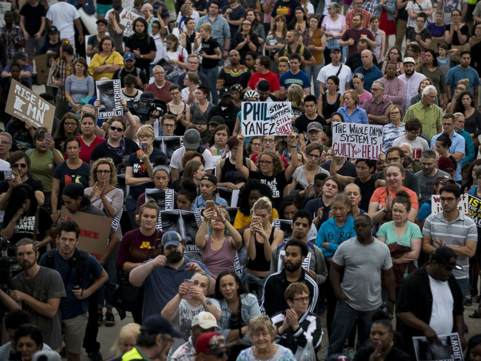 PHOTO: Protesters pack the steps of the Minnesota State Capitol building on June 16, 2017 in St Paul, Minn.