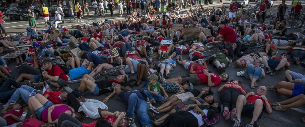 PHOTO: Activists protest the death of Philando Castile, July 8, 2016 in downtown Minneapolis, Minnesota. Castile was shot and killed by police on July 6, 2016 in Falcon Heights, Minnesota.