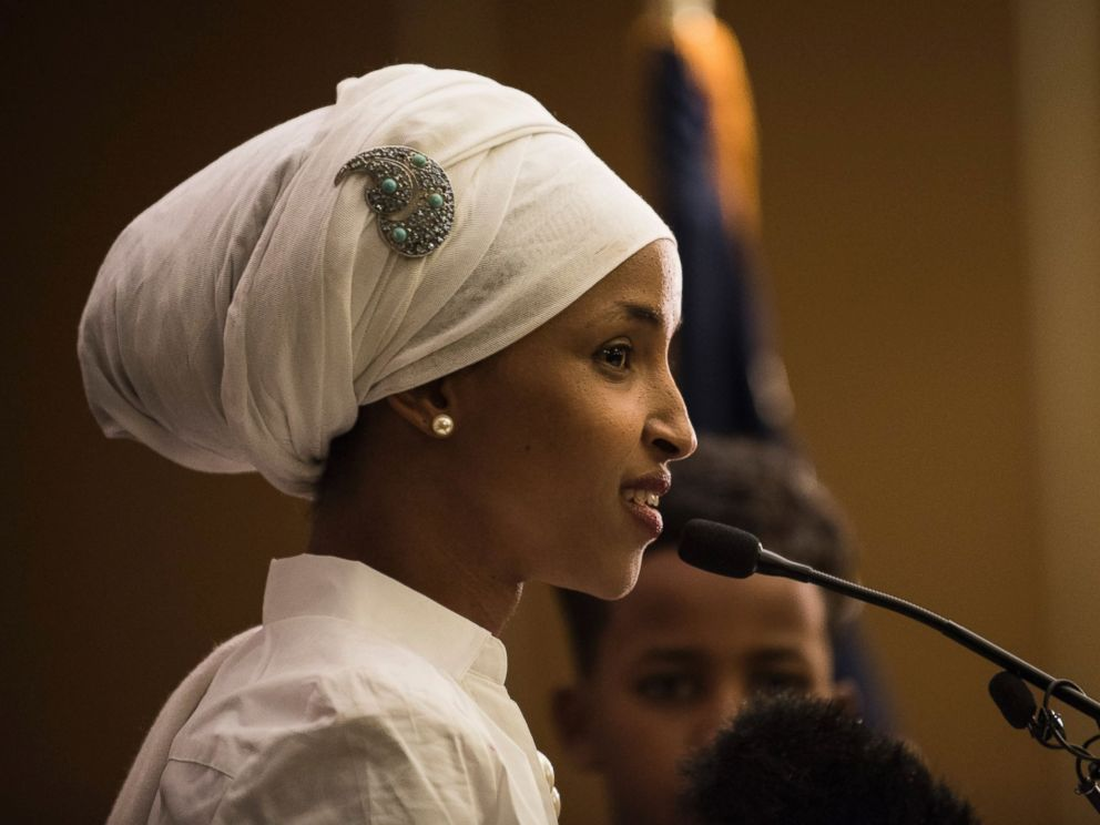 PHOTO: Ilhan Omar, a candidate for State Representative for District 60B in Minnesota, gives an acceptance speech on election night, Nov. 8, 2016, in Minneapolis.