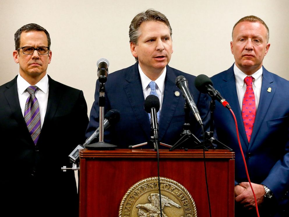 PHOTO: Acting U.S. Attorney Corey Amundson announces the findings regarding Federal Criminal Investigation of Alton Sterling at the U.S. Federal Court House on May 3, 2017, in Baton Rouge, Louisiana.