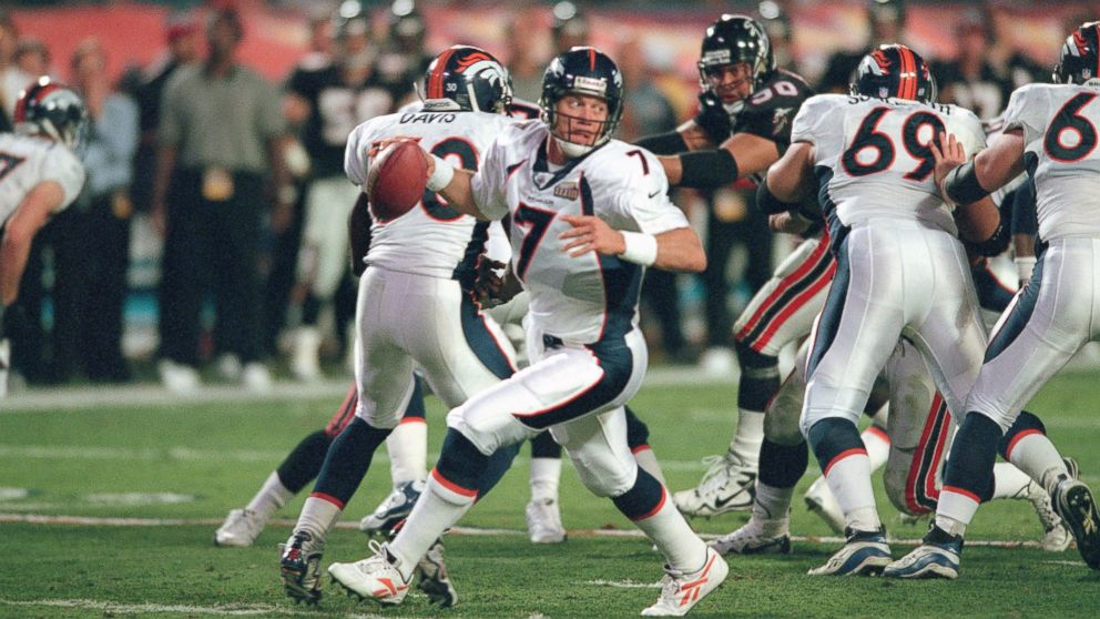 John Elway  7 of the Denver Broncos looks to pass against the Atlanta  Falcons during 362af0351
