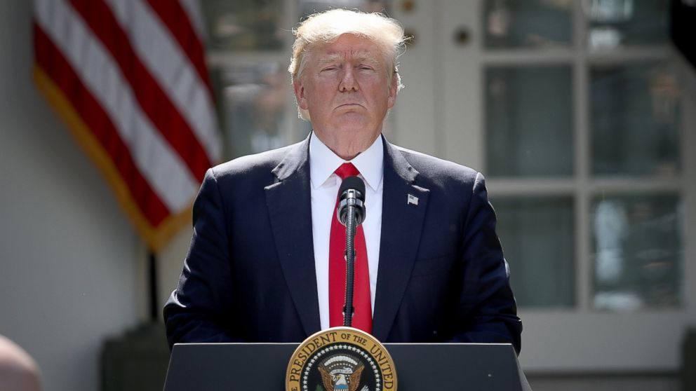 President Donald Trump concludes his announcement to withdraw the United States from the Paris Climate Agreement in the Rose Garden at the White House, June 1, 2017.