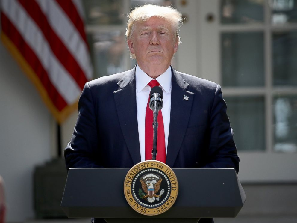 PHOTO: President Donald Trump concludes his announcement to withdraw the United States from the Paris Climate Agreement in the Rose Garden at the White House, June 1, 2017.