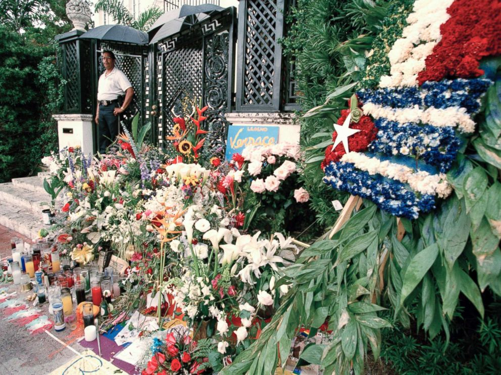 PHOTO: Floral tributes after the murder of Italian fashion designer Gianni Versace outside his Miami Beach home, July 1997.