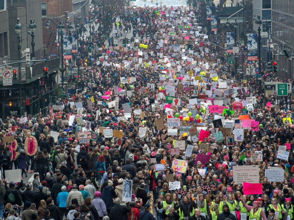 PHOTO: Demonstrators march during the Womens March, Jan. 21, 2017 in New York City.