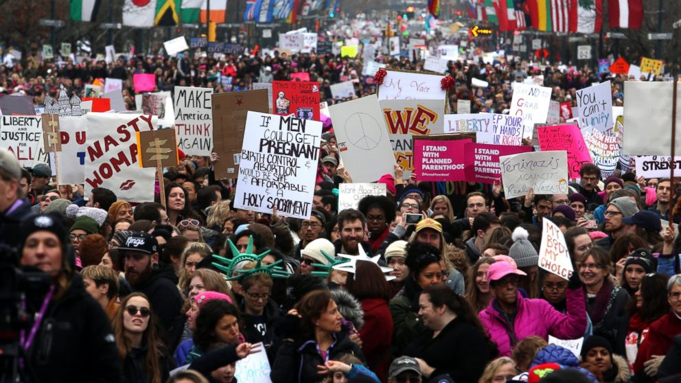 Thousands of protesters fill the Benjamin Franklin Parkway as they participate in a Women's March, Jan. 21, 2017 in Philadelphia.