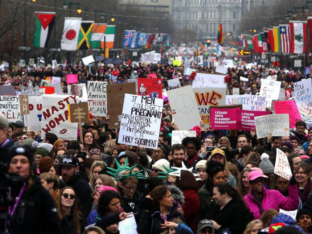 PHOTO: Thousands of protesters fill the Benjamin Franklin Parkway as they participate in a Womens March, Jan. 21, 2017 in Philadelphia.