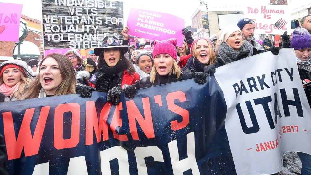 Jennifer Beals, Chelsea Handler and Charlize Theron participate in the Women's March on Main Street, Jan. 21, 2017 in Park City, Utah.