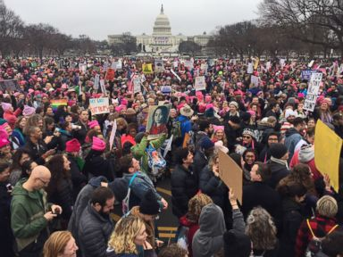 PHOTO: Demonstrators protest on the National Mall in Washington, D.C., for the Womens march, Jan. 21, 2017.