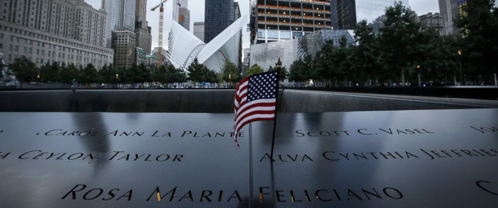 PHOTO: A U.S. flag is placed on the 9/11 memorial before the ceremony to commemorate the 14th Anniversary of the terrorist attacks on Sept. 11, 2015 in New York City.