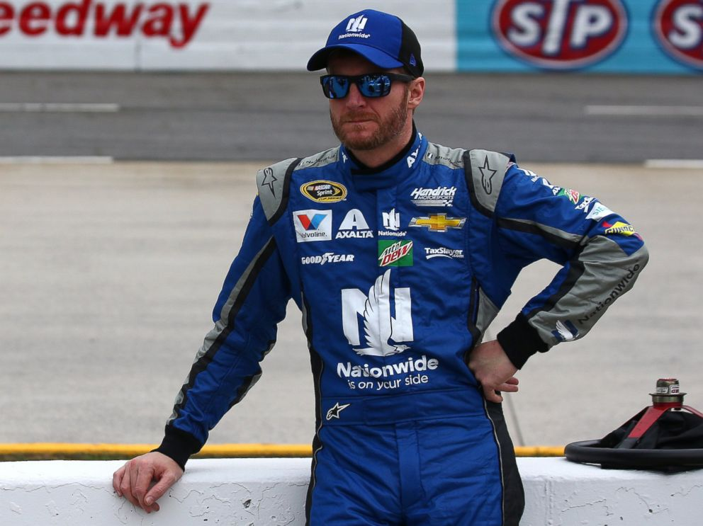 PHOTO: Dale Earnhardt Jr., driver of the #88 Nationwide Chevrolet, at the Martinsville Speedway on April 1, 2016 in Martinsville, Virginia.