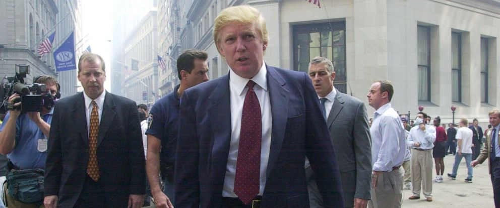 PHOTO: Donald Trump speaks outside the New York Stock Exchange a week after a terrorist attack brought down the World Trade Centers twin towers, on Sept. 18, 2001, in New York.