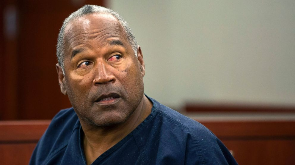O.J. Simpson waits to continue testifying after a break in an evidentiary hearing in Clark County District Court May 15, 2013 in Las Vegas.