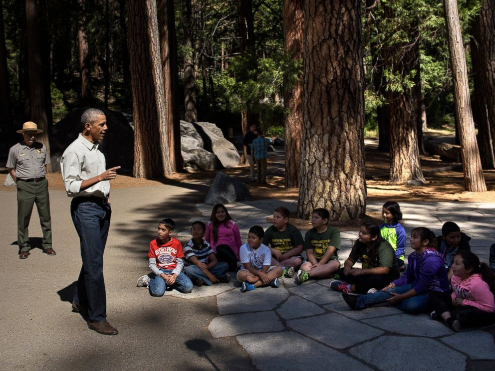 PHOTO: President Barack Obama speaks to children about the Every Kid in the Park initiative in Yosemite National Park, California, while celebrating the 100th year of US National Parks June 18, 2016.