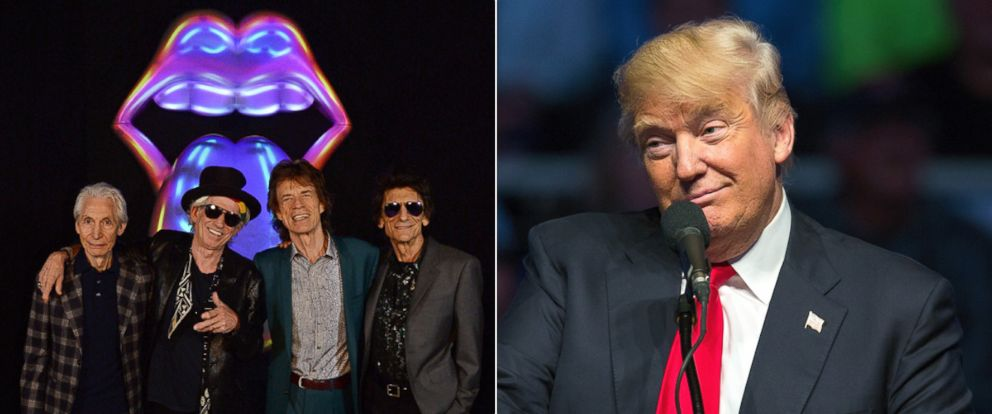 PHOTO: (L-R) Charlie Watts, Keith Richards, Mick Jagger and Ronnie Wood of The Rolling Stones at Saatchi Gallery on April 4, 2016, in London | Presidential candidate Donald Trump at Indiana State Fairgrounds on April 27, 2016, in Indianapolis.