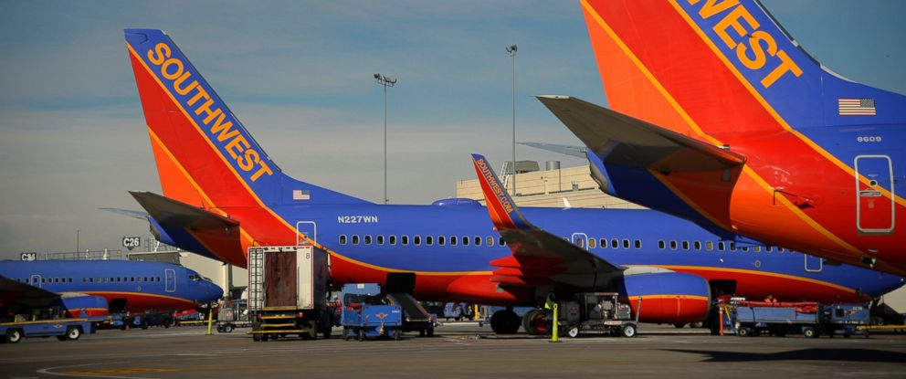 "PHOTO: Southwest Airlines aircraft are seen at Concourse ""C"" at the Denver International Airport, February 20, 2015."