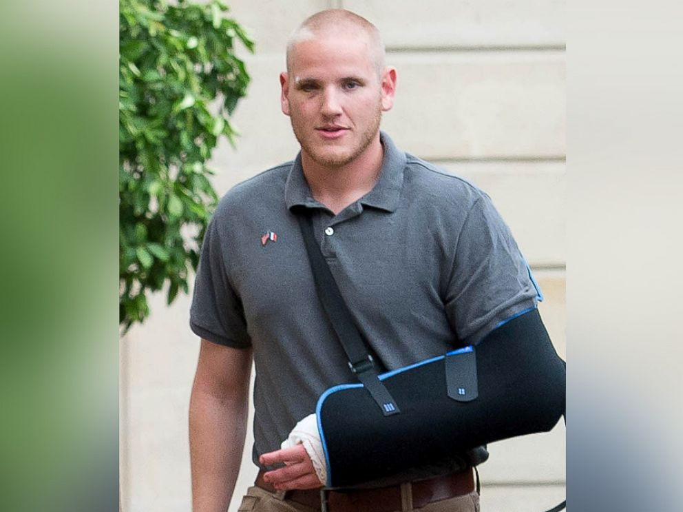 PHOTO: Spencer Stone, being awarded the Legion dHonneur after overpowering the gunman, 25-year-old Moroccan, Ayoub El-Khazzani, on board a high-speed train traveling from Amsterdam to Paris, attends a reception at Elysee Palace on Aug. 24, 2015 in Paris.