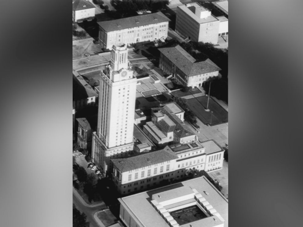 PHOTO: Overhead view shows the 27 story University of Texas tower from which Charles Whitman staged a shooting spree Aug. 1, 1966, killing 15 and wounding 33.