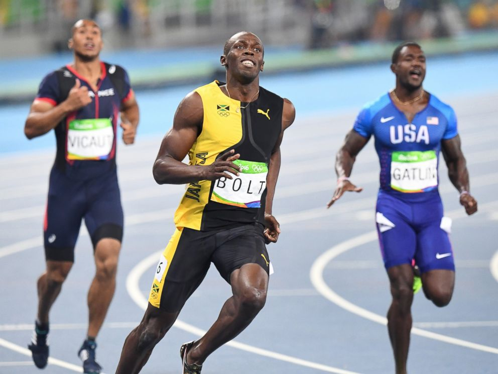 PHOTO: Usain Bolt smiles after winning the 100-meter event, on Aug. 14, 2016, at the Rio Games in Rio de Janeiro.