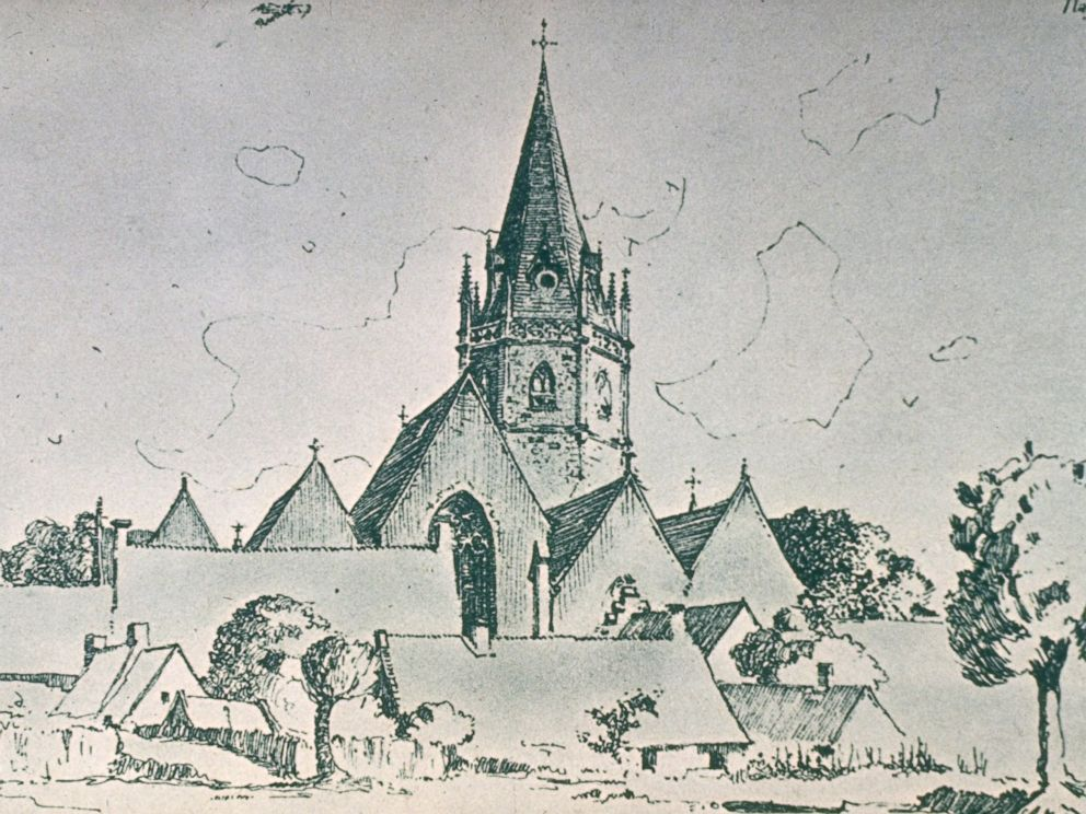 PHOTO: Drawing of an unidentified church by Adolf Hitler, early 1900s.