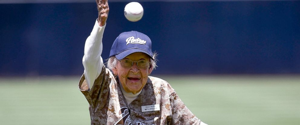 PHOTO: 105-year-old Agnes McKee throws out the first pitch before a baseball game between the New York Mets and the San Diego Padres at Petco Park, July 20, 2014, in San Diego.