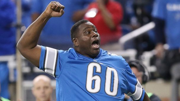 """PHOTO: Former Detroit Lions player Al """"Bubba"""" Baker is pictured during a Detroit Lions game against the Baltimore Ravens on Dec. 16, 2013 in Detroit, Mich."""