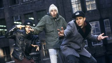 PHOTO: The Beastie Boys pose on a rooftop in New York City in 1994.