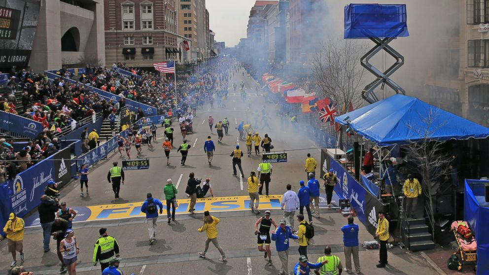 Two explosions went off near the finish line of the 117th Boston Marathon, in Boston, April 15, 2013.