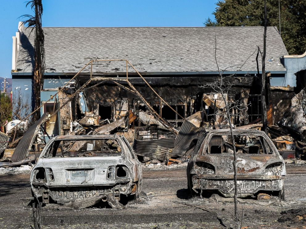 PHOTO: Cars destroyed in the Clayton Fire are seen in Lower Lake, California, Aug. 15, 2016.