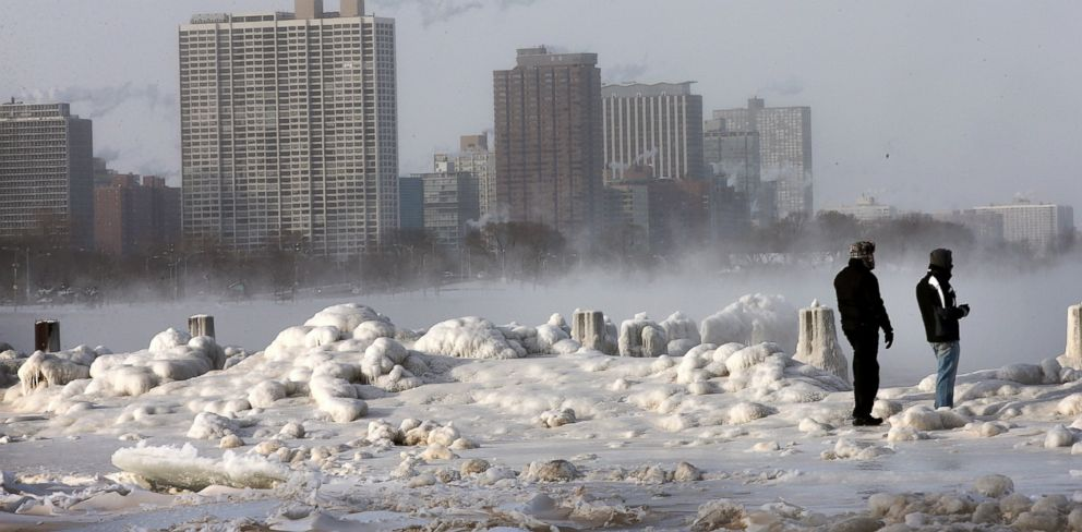 PHOTO: Ice builds up along Lake Michigan at North Avenue Beach, Jan. 6, 2014, in Chicago.