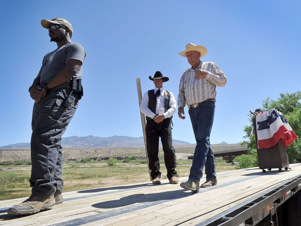 PHOTO: Cliven Bundy, right, after a news conference near his ranch on April 24, 2014 in Bunkerville, Nev. Bundy and the Bureau of Land Management have been locked in a dispute for a couple of decades over grazing rights on public lands.