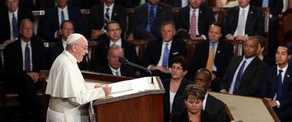 PHOTO:Pope Francis addresses a joint meeting of the U.S. Congress in the House Chamber of the U.S. Capitol, Sept. 24, 2015, in Washington.