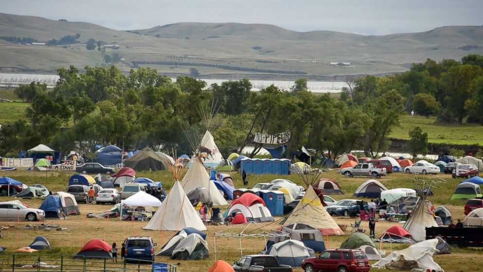 The Missouri River is seen beyond an encampment Sept. 4, 2016, near Cannon Ball, North Dakota where hundreds of people have gathered to join the Standing Rock Sioux Tribe's protest of the Dakota Access Pipeline (DAPL).
