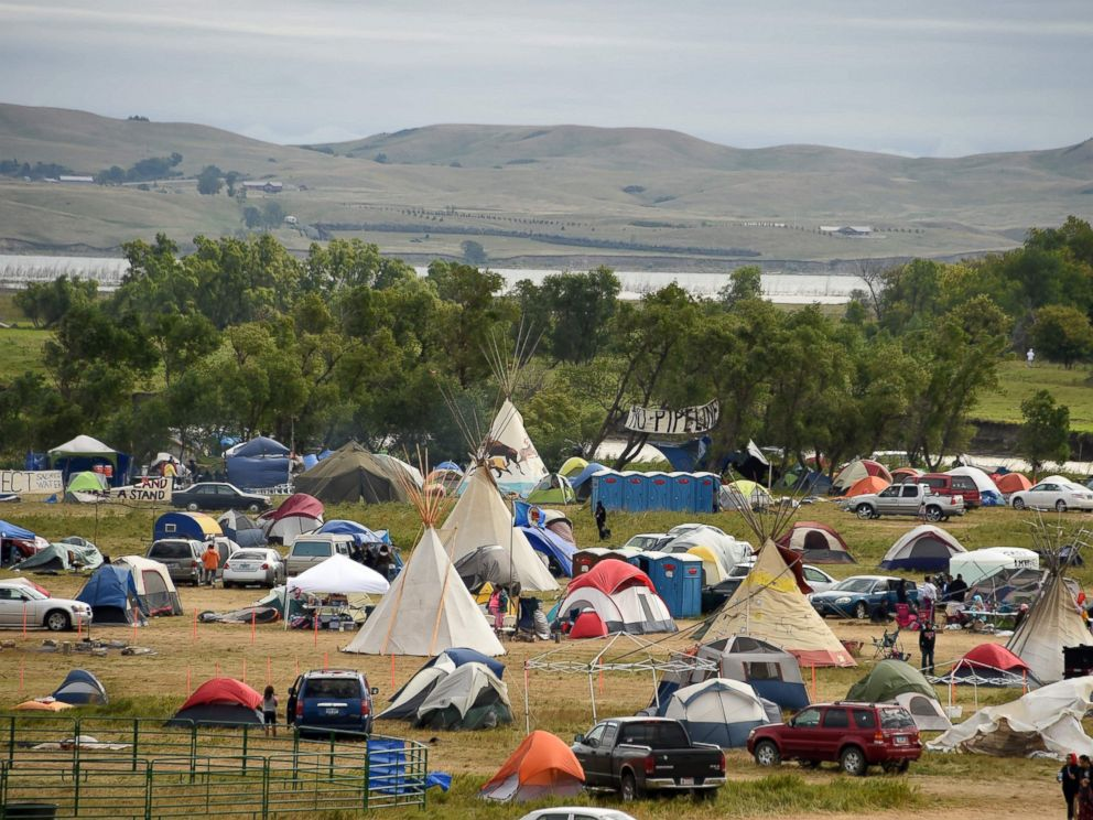 PHOTO: The Missouri River is seen beyond an encampment Sept. 4, 2016, near Cannon Ball, North Dakota where hundreds of people have gathered to join the Standing Rock Sioux Tribes protest of the Dakota Access Pipeline (DAPL).