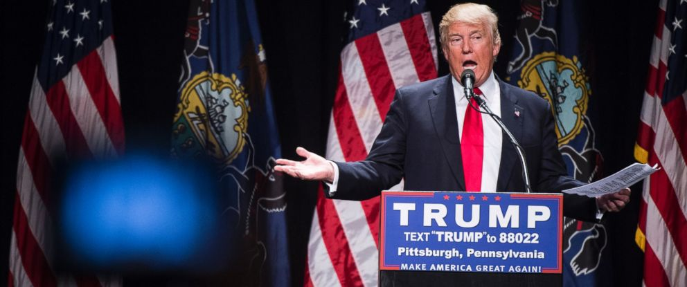PHOTO: Donald Trump speaks during a campaign event at the David L. Lawrence Convention Center in Pittsburgh, Pennsylvania, April 13, 2016.