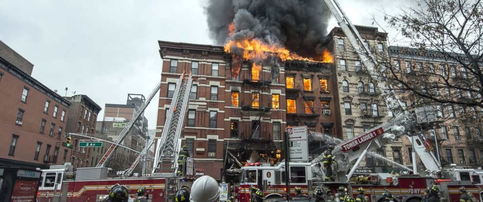 PHOTO: A building collapsed after it was rocked by a blast and a fire, March 26, 2015, in New York.
