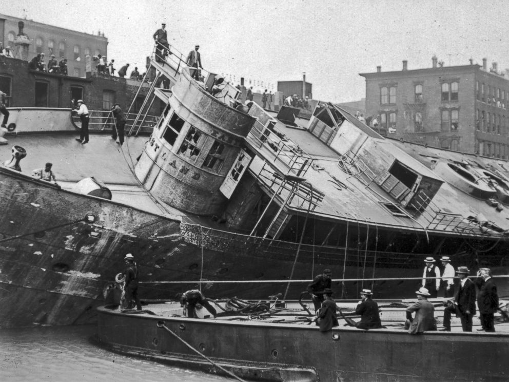 PHOTO: The Eastland ship being righted after the Eastland Disaster on the Chicago River, 1915.