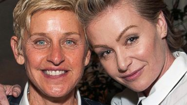 """PHOTO: Ellen DeGeneres and Portia de Rossi attend Arianna Huffingtons """"Thrive"""" book party hosted by Victoria Jackson, Kathy Freston and Dean Ornish, May 8, 2014, in Beverly Hills, Calif."""
