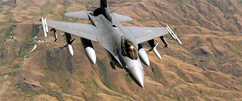 "PHOTO: This undated file image shows a U.S. Air Force F-16 on patrol over the ""No-Fly Zone"" in Northern Iraq."